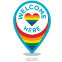 The Welcome Here Project brand logo where LGBTIQ diversity is celebrated.